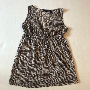 NY & Co Zebra Striped Brown Babydoll Tank Small
